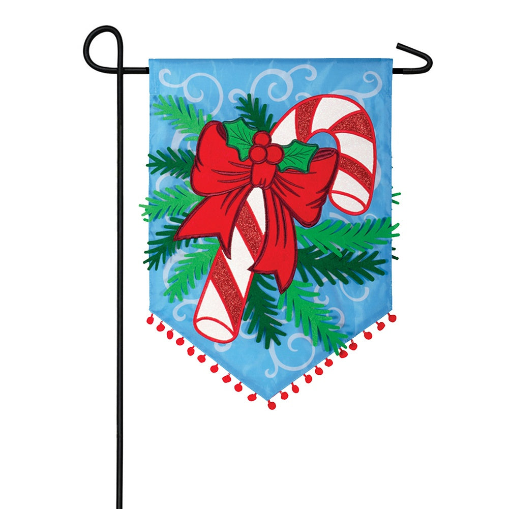 Candy Cane & Pine Appliqued Double Sided Garden Flag