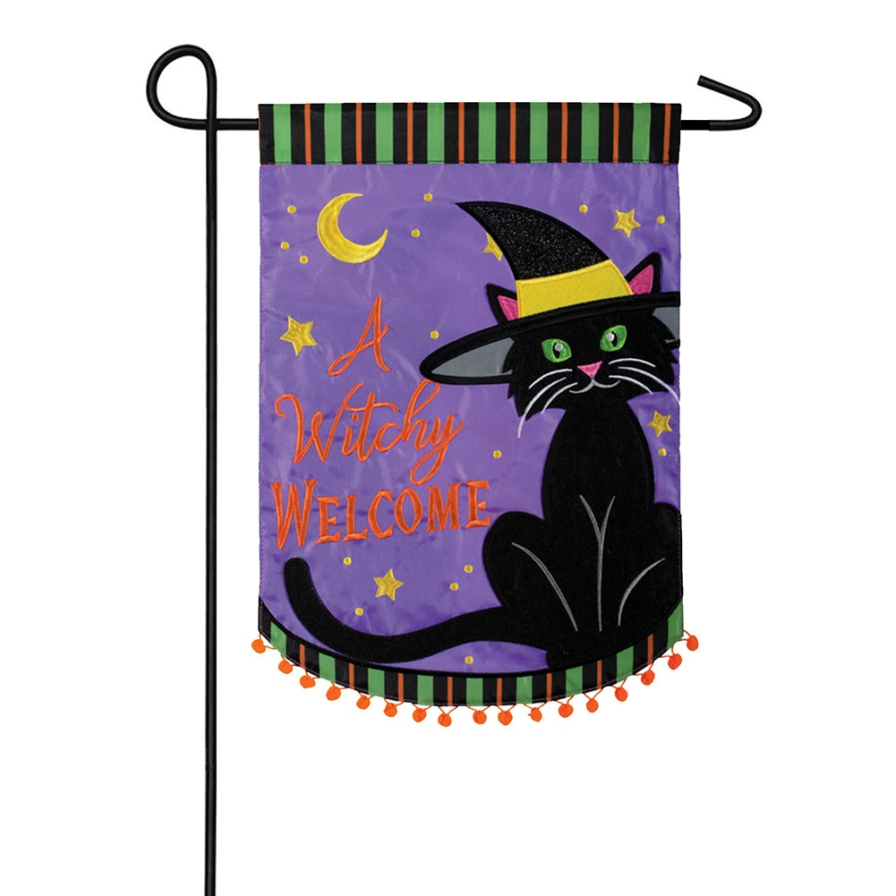 A Witchy Welcome Appliqued Double Sided Garden Flag