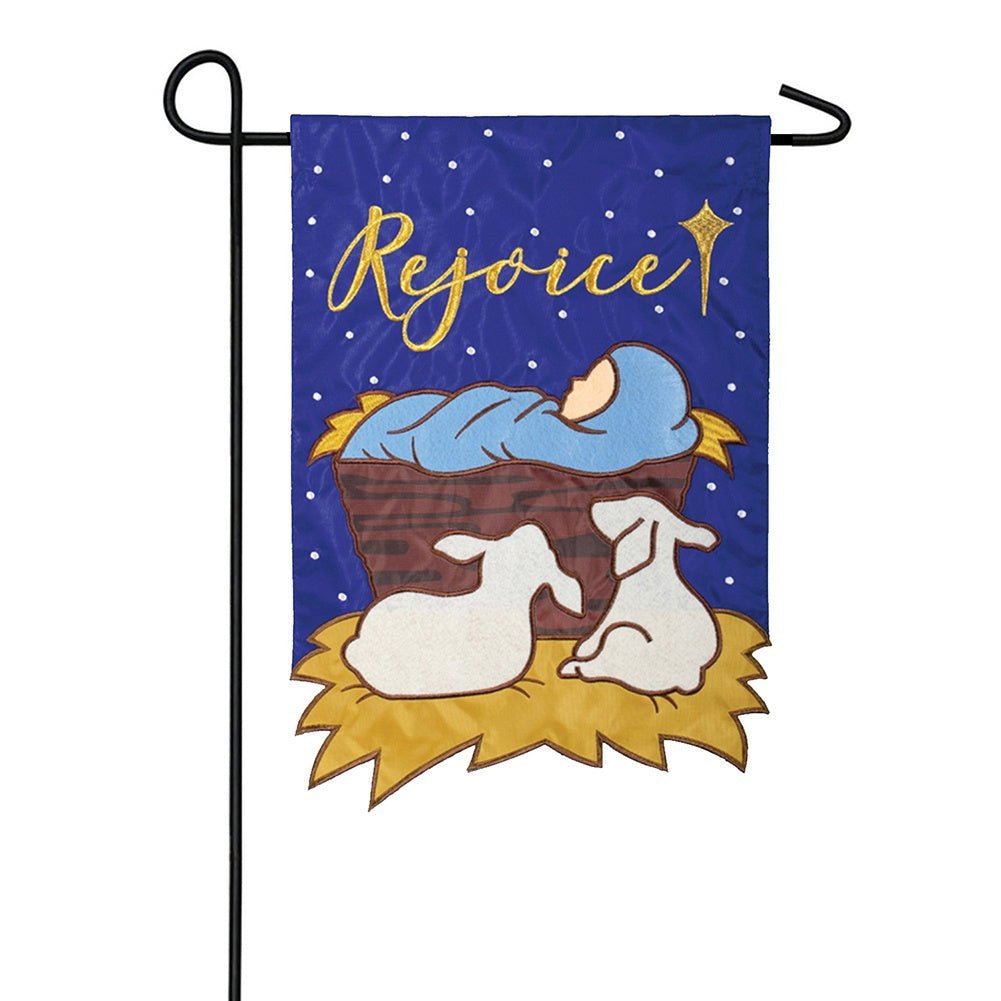 Rejoice Appliqued Double Sided Garden Flag