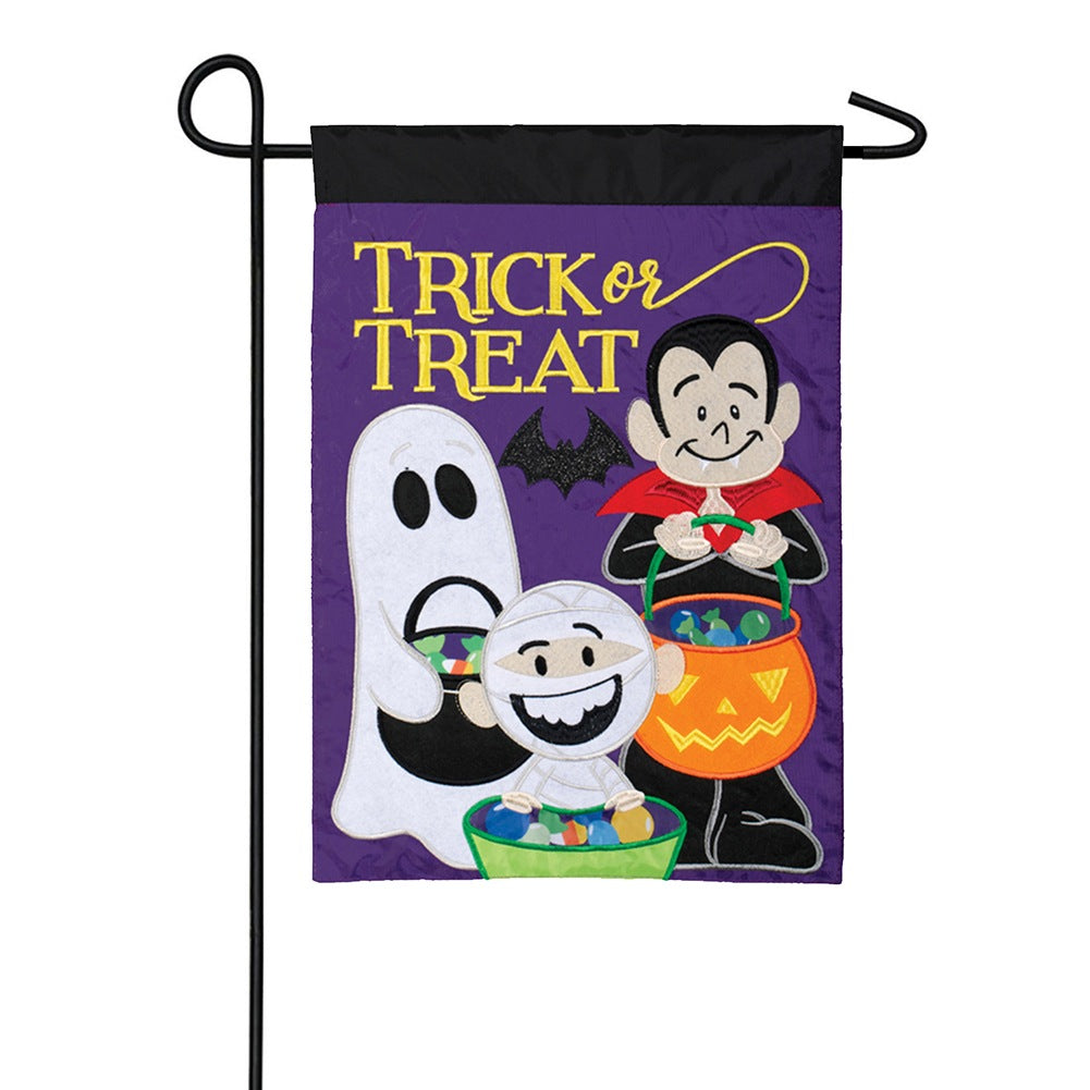 Ghosts & Goblins Appliqued Double Sided Garden Flag
