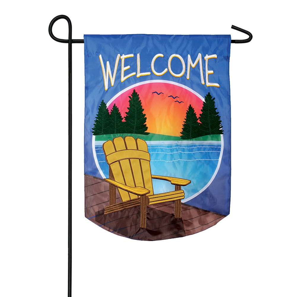 Adirondack Sunset Appliqued Garden Flag