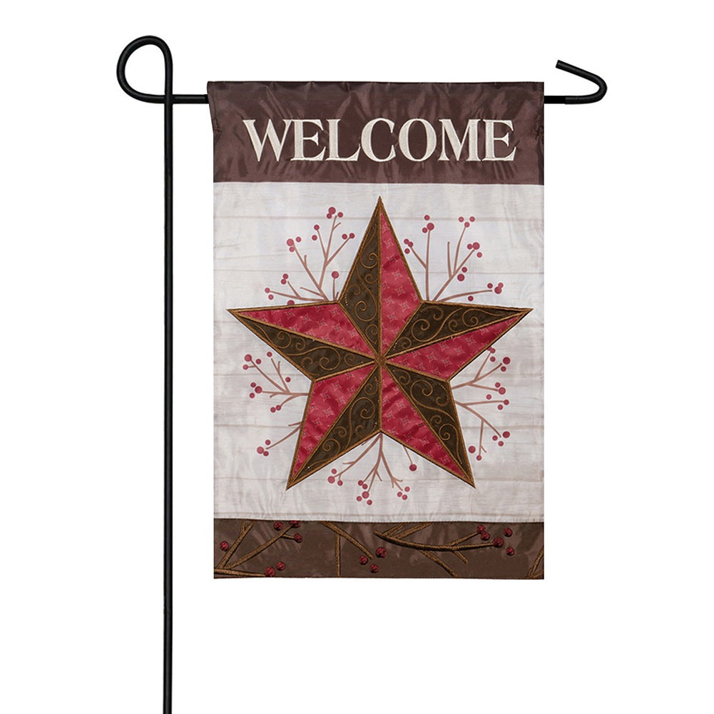 Barn Star & Berries Appliqued Garden Flag
