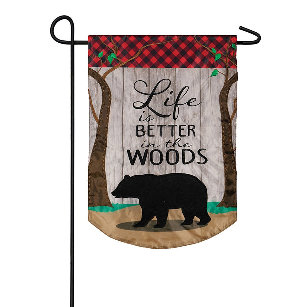 Better In The Woods Appliqued Garden Flag