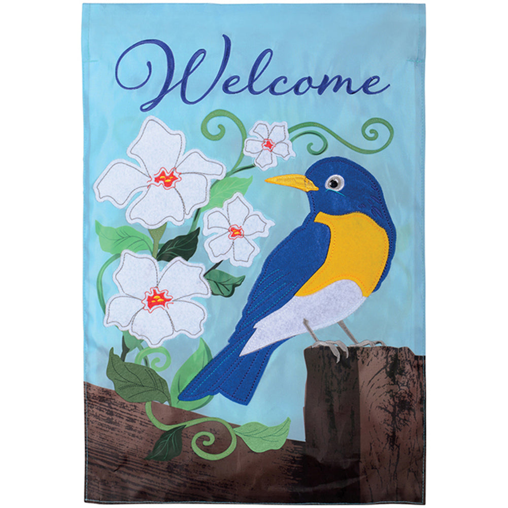 Bluebird On Fence Appliqued Garden Flag