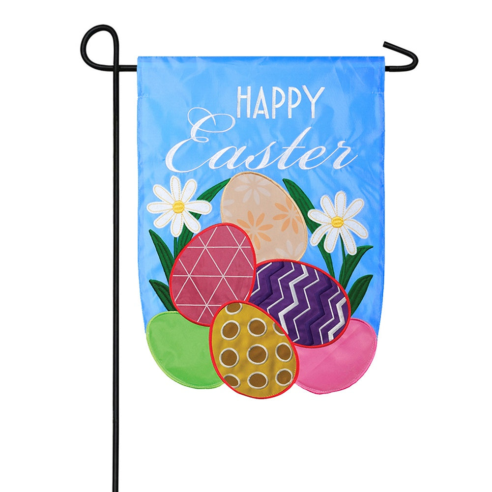 Happy Easter Eggs Appliqued Garden Flag