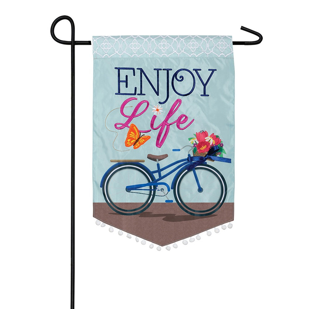 Enjoy Life Appliqued Garden Flag
