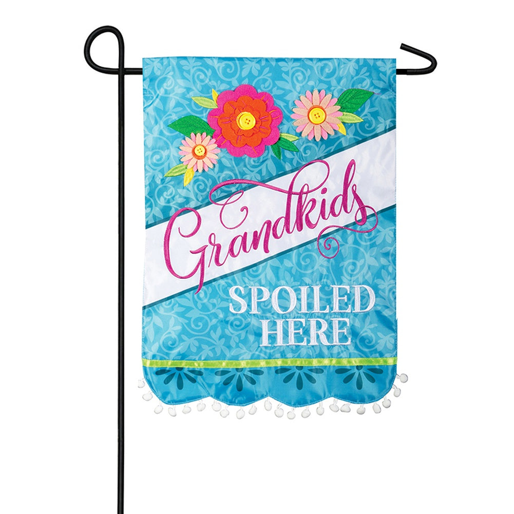 Spoiled Here Appliqued Garden Flag