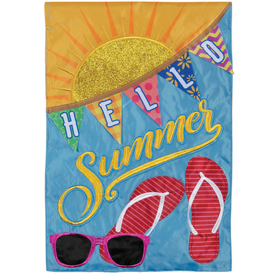 Hello Summer Appliqued Garden Flag