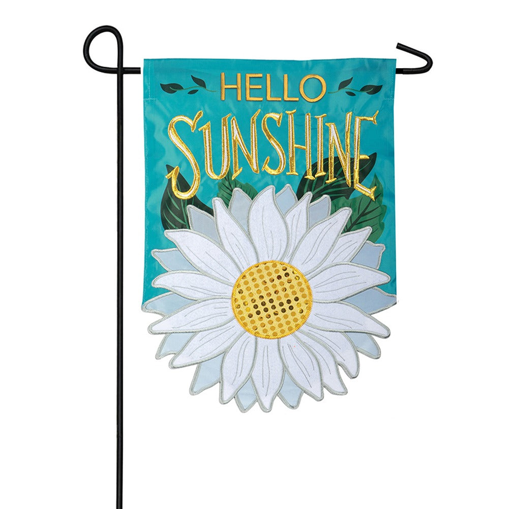 Sunshine Daisy Appliqued Garden Flag