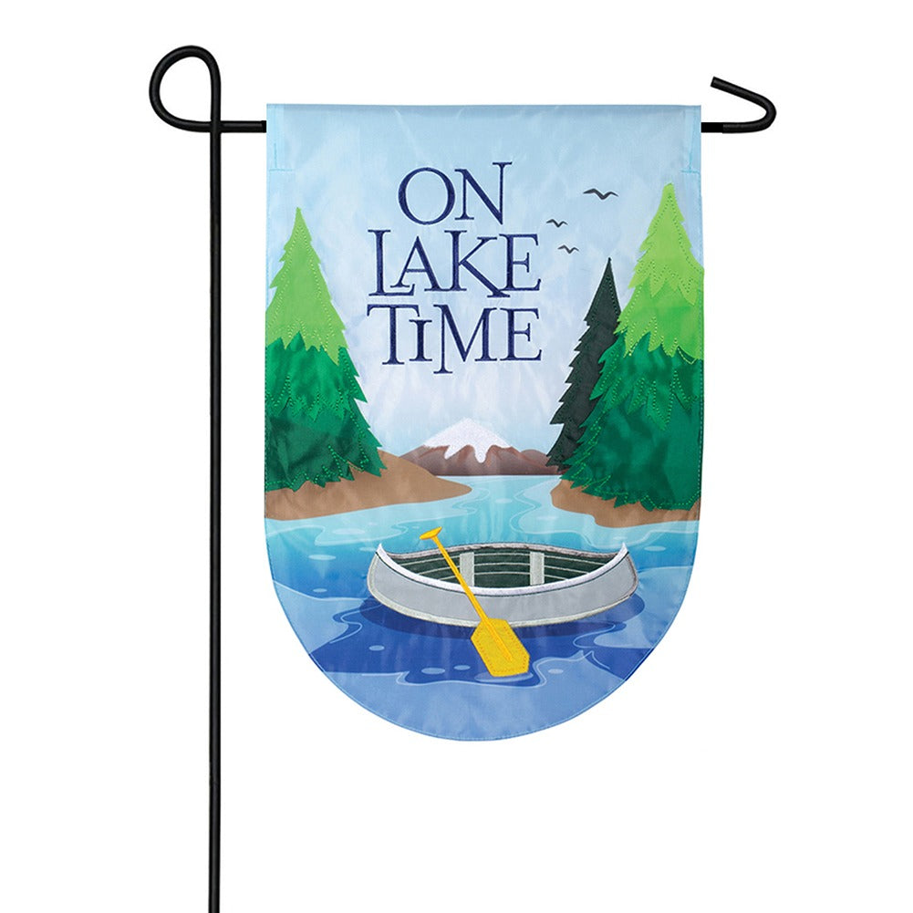 Lake Time Serenity Appliqued Garden Flag