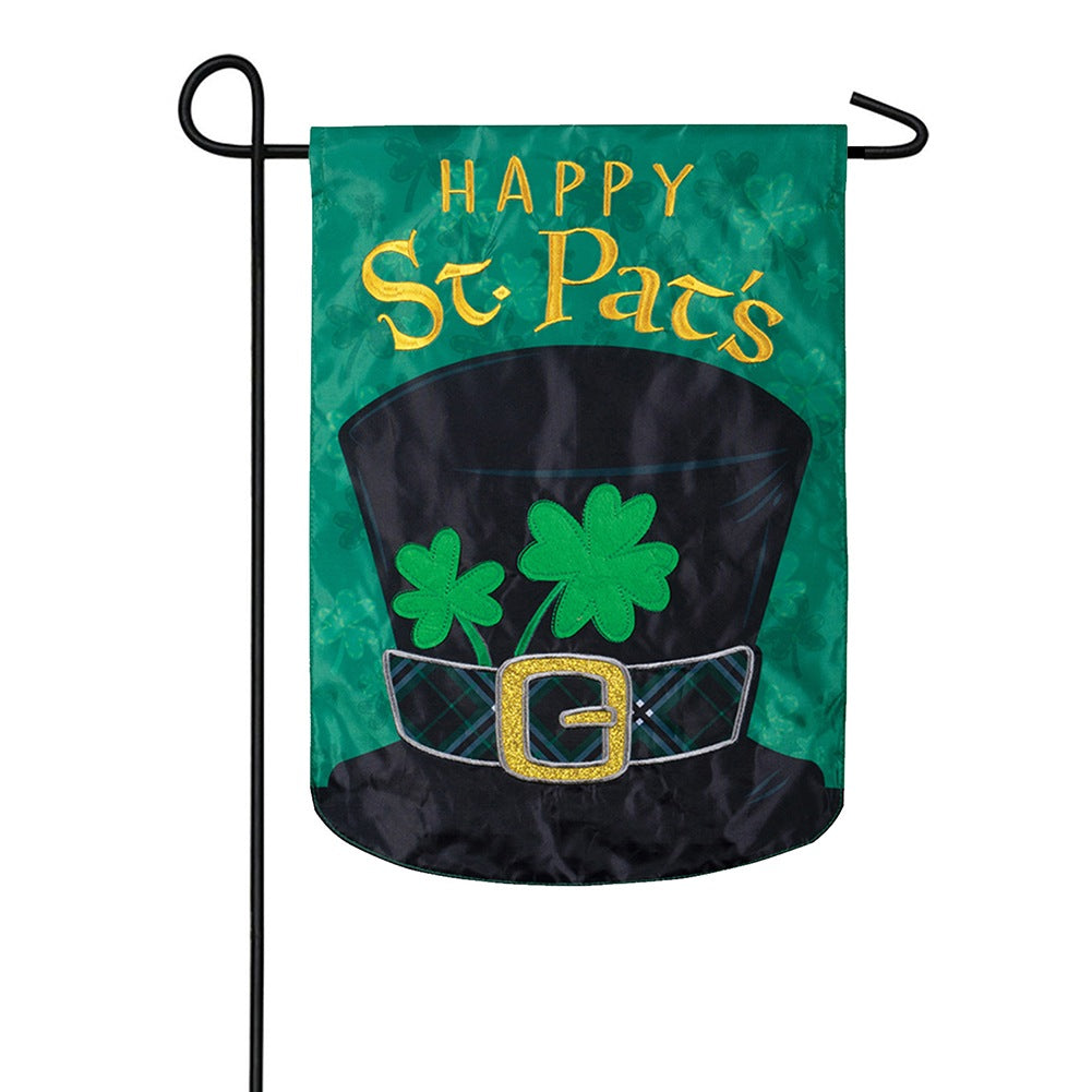 St. Patty Hat Appliqued Garden Flag