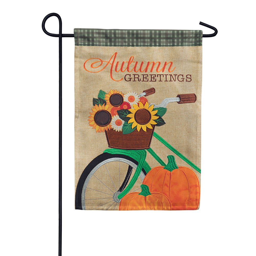 Autumn Bicycle Greetings Appliqued Garden Flag