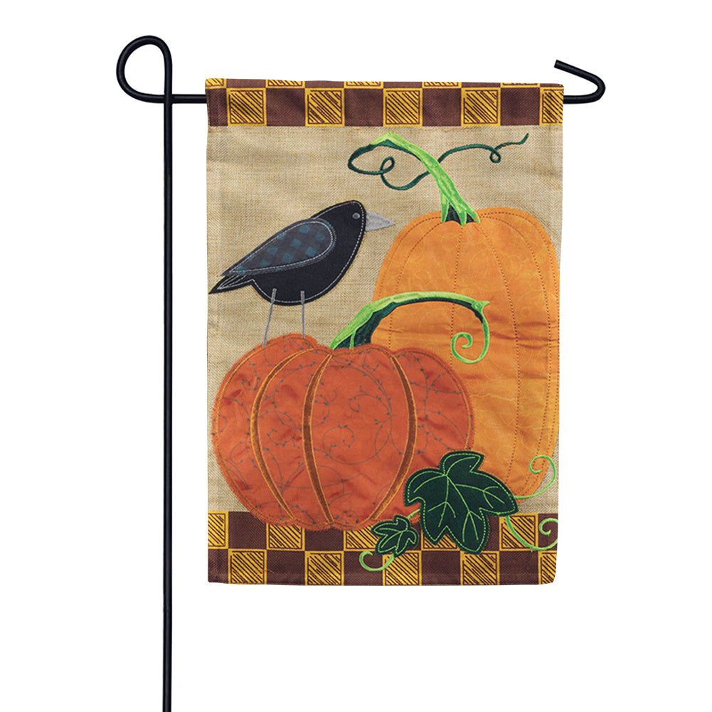 Pumpkins & Crow Appliqued Garden Flag