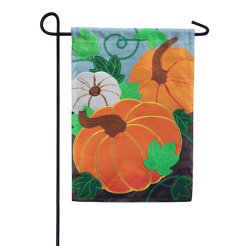 Tri-Color Pumpkins Appliqued Garden Flag
