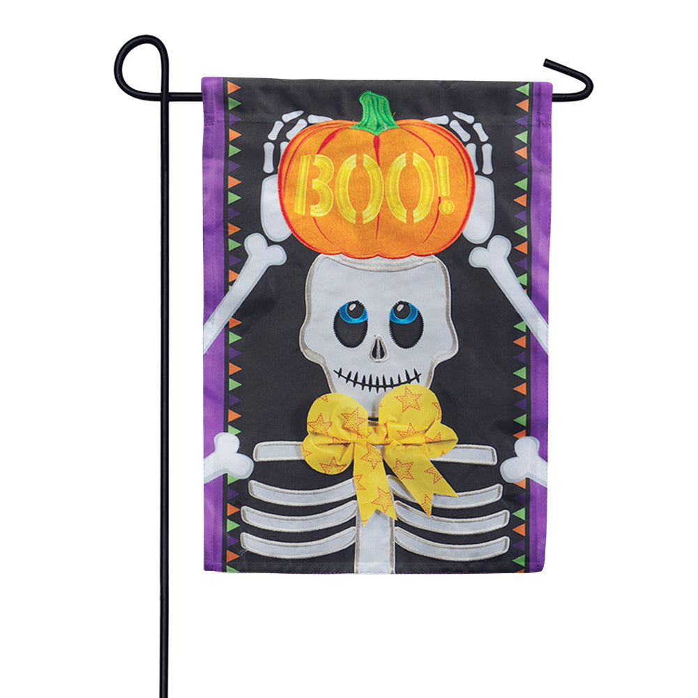 Skeleton Boo Appliqued Garden Flag
