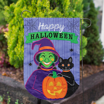 Happy Witchy Halloween Appliqued Garden Flag