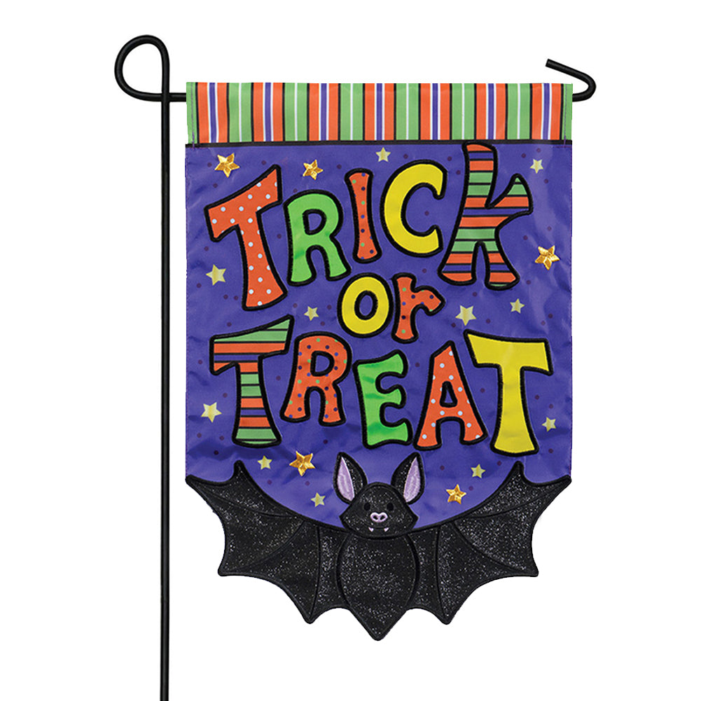 Trick or Treat Bat Appliqued Garden Flag