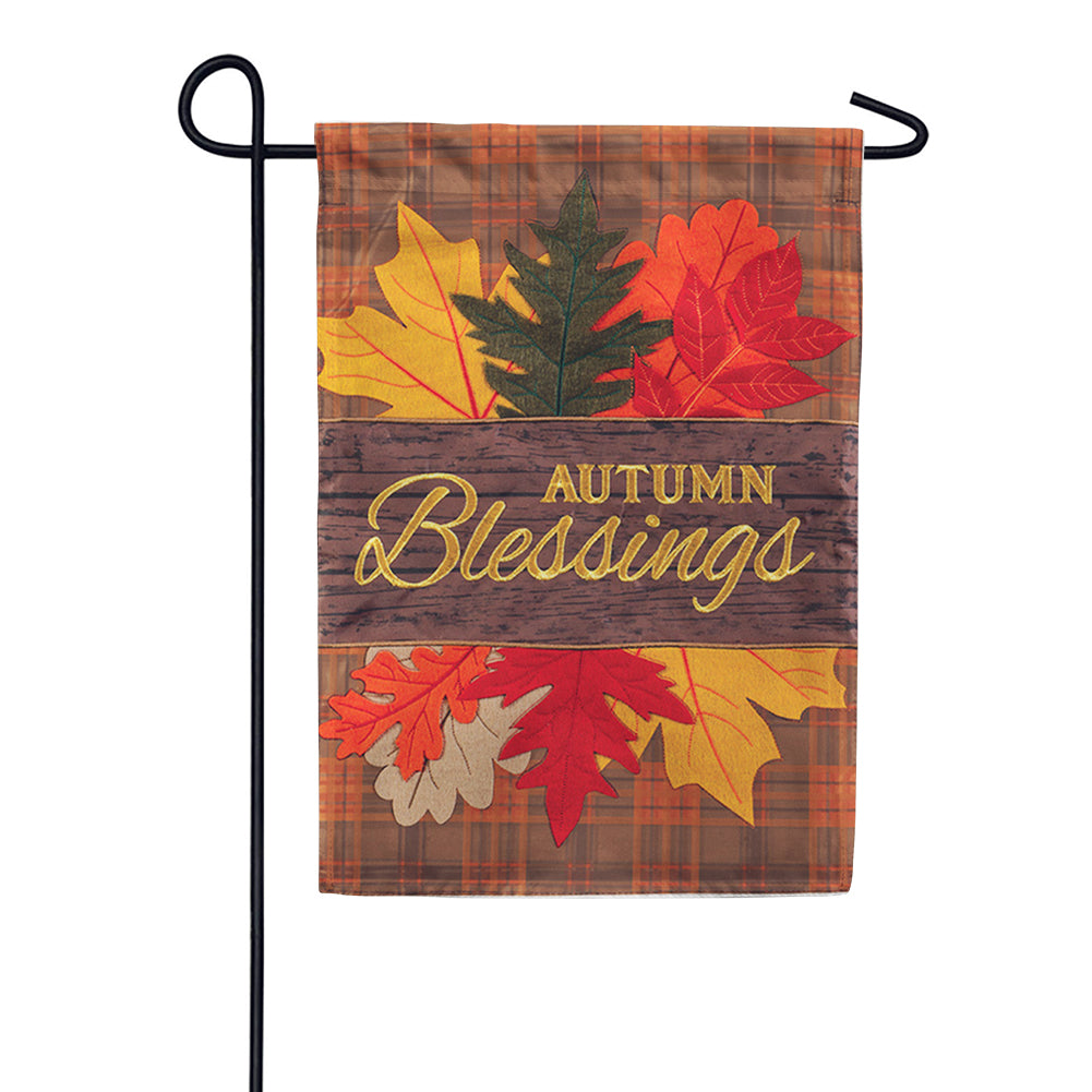 Autumn Blessings Leaves Appliqued Garden Flag