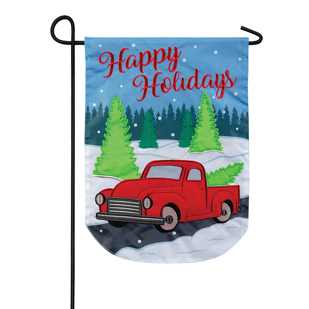 Holiday Truck Happy Holidays Appliqued Garden Flag