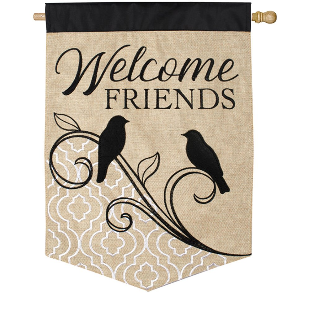 Songbird Welcome Double Appliqued House Flag