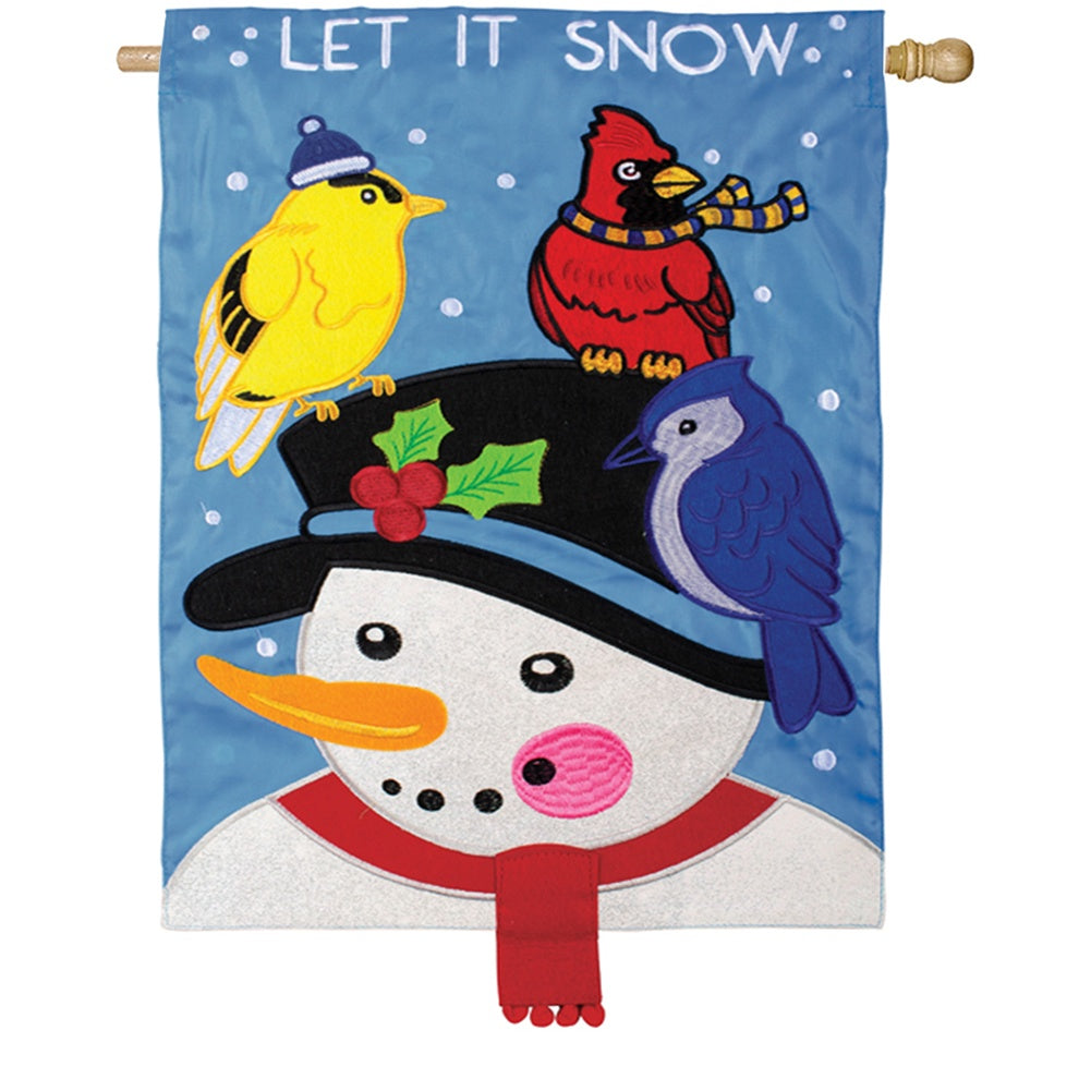 Snowman & Birds Double Appliqued House Flag