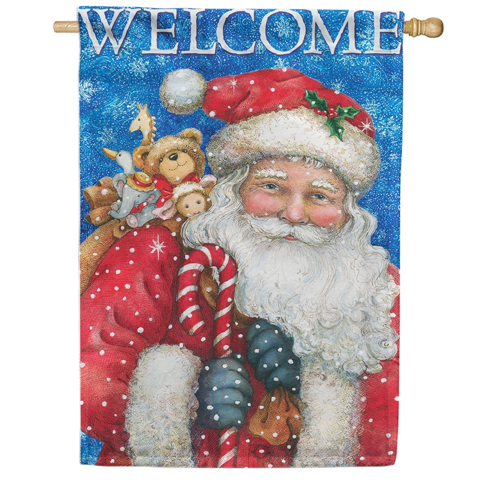 Santa's Gifts Welcome Double Sided House Flag