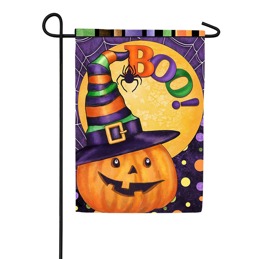 Boo Jack O'Lantern Double Sided Garden Flag