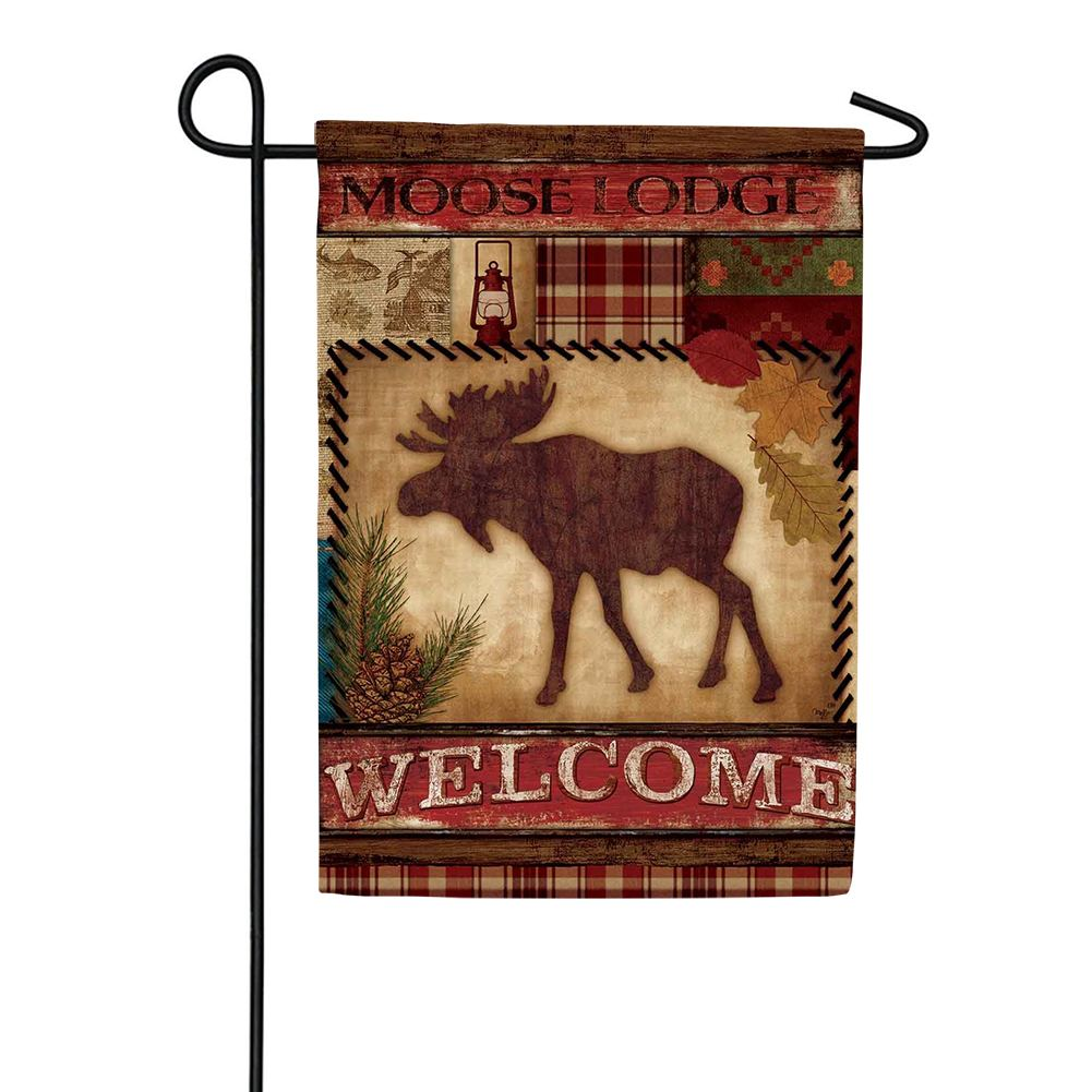Welcome Moose Double Sided Garden Flag