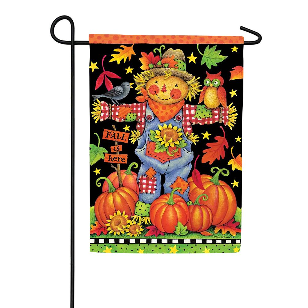 Scarecrow and Pumpkins Garden Flag