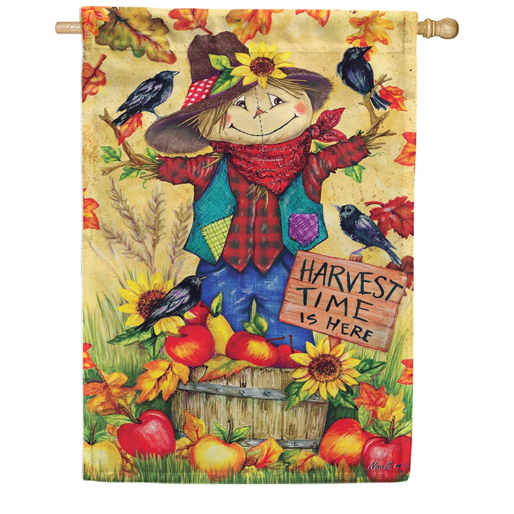 Scarecrow and Apples Double Sided House Flag