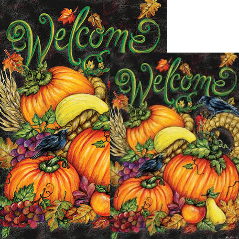custom decor harvest welcome double sided flags set  2 pieces   flagsr  u2013 flagsrus org