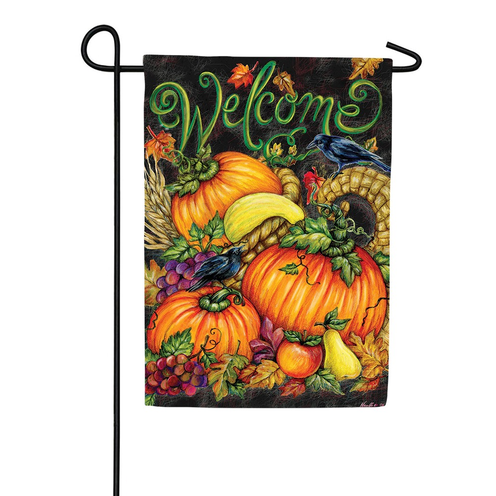 Harvest Welcome Pumpkins Double Sided Garden Flag