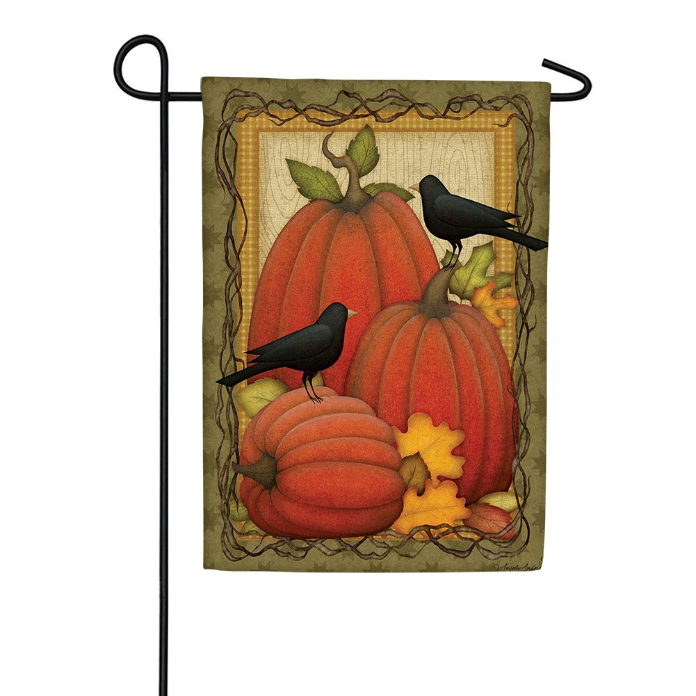 Pumpkin Patch Crows Garden Flag