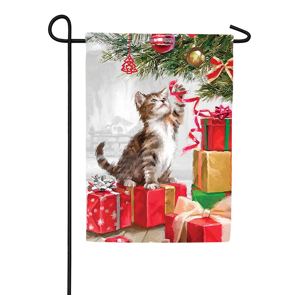 Christmas Kitten Garden Flag
