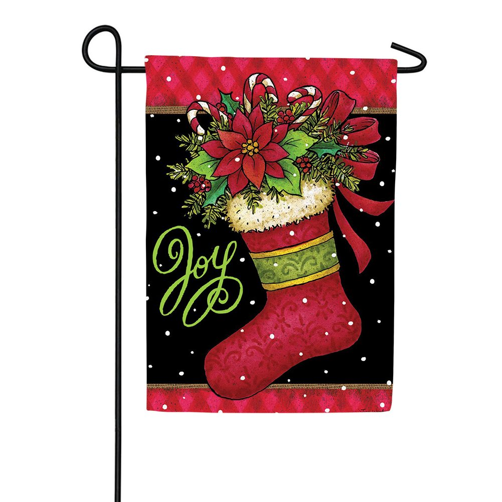 Joy Stocking Double Sided Garden Flag