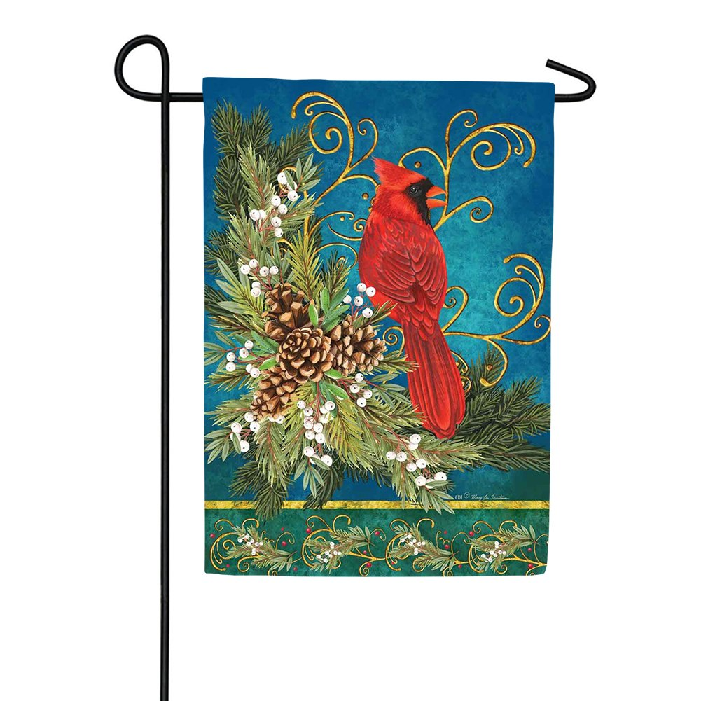 Winter Cardinal Pinecone Garden Flag