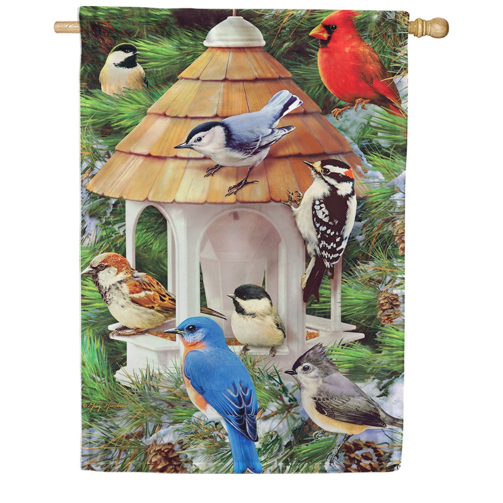 Winter Songbirds House Flag
