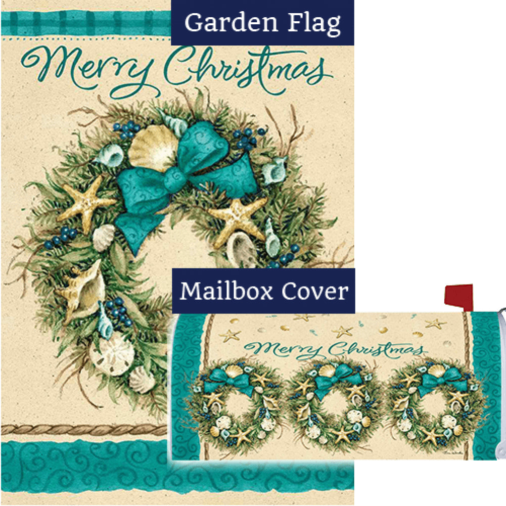 Coastal Wreath Double Sided Flag Mailwrap Set (2 Pieces)