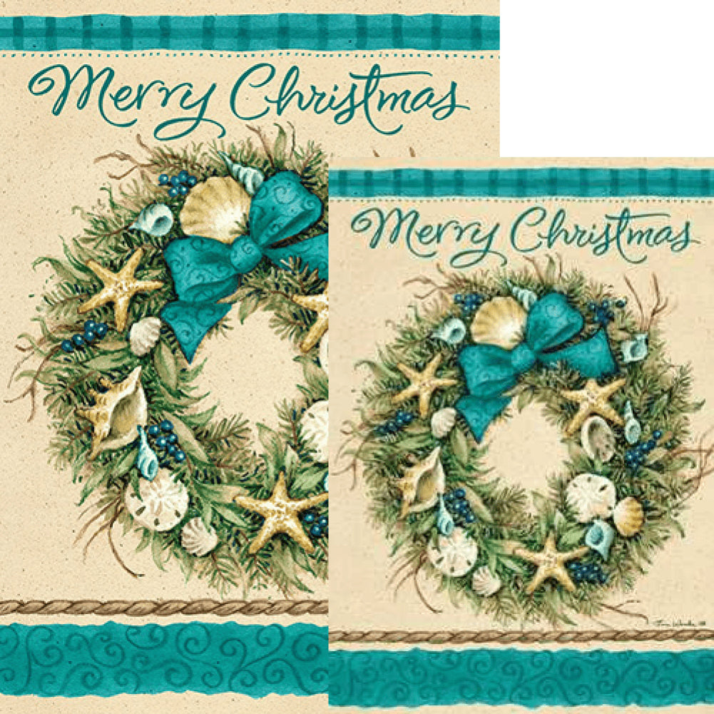 Coastal Wreath Double Sided Flags Set (2 Pieces)