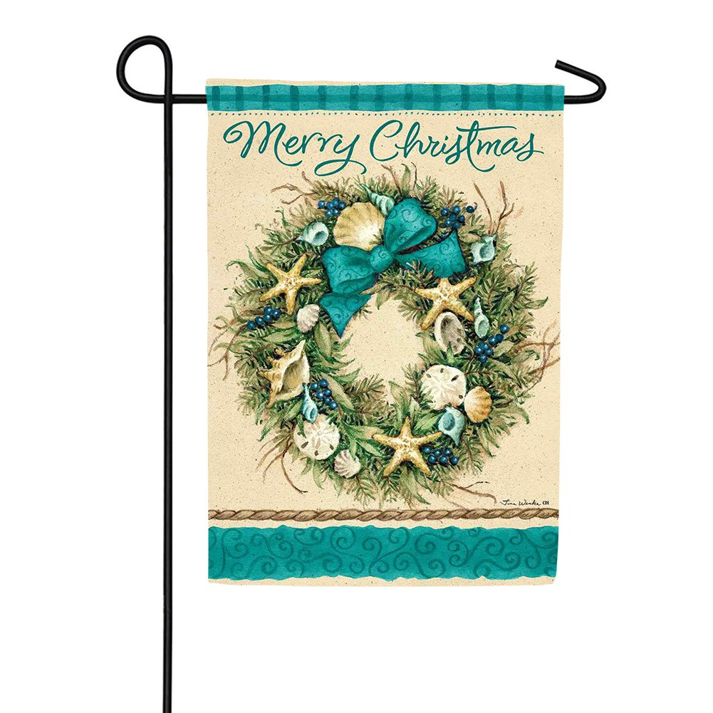 Coastal Wreath Double Sided Garden Flag