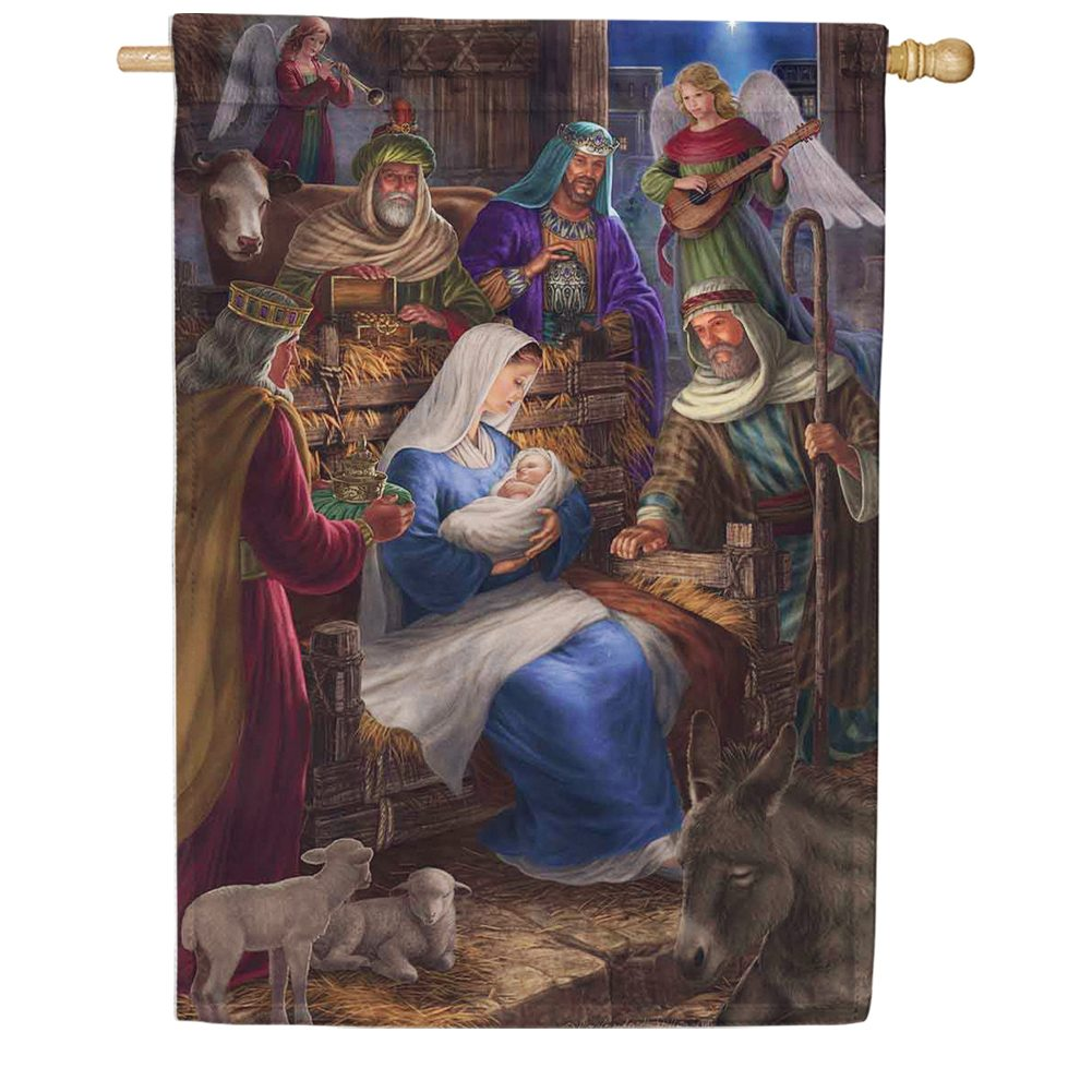 custom decor holy nativity house flag  flagsrus org