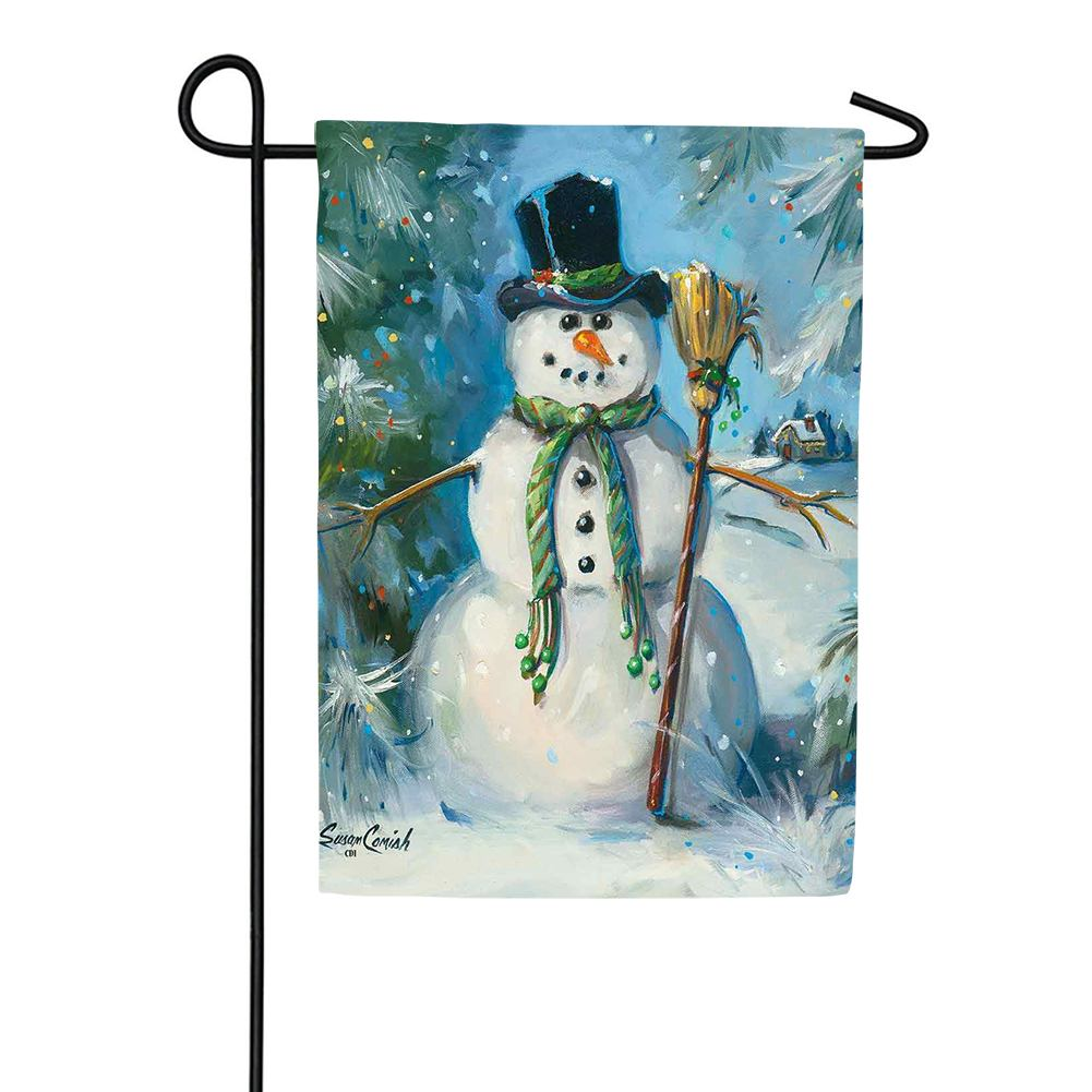 Top Hat Snowman Winter Garden Flag