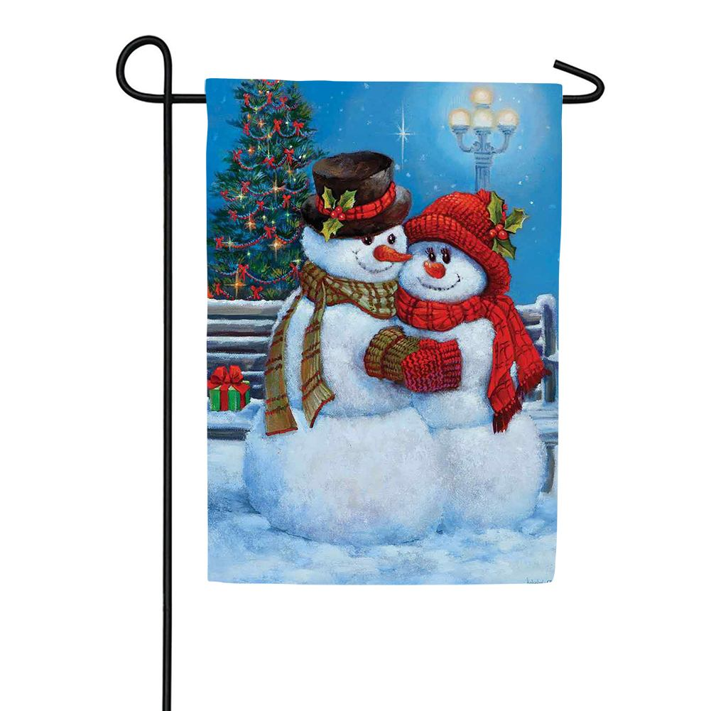 Snowman Couple Garden Flag