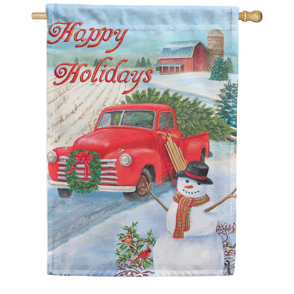 Christmas Truck Double Sided House Flag