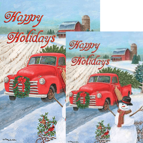 Christmas Truck Double Sided Flags Set (2 Pieces)