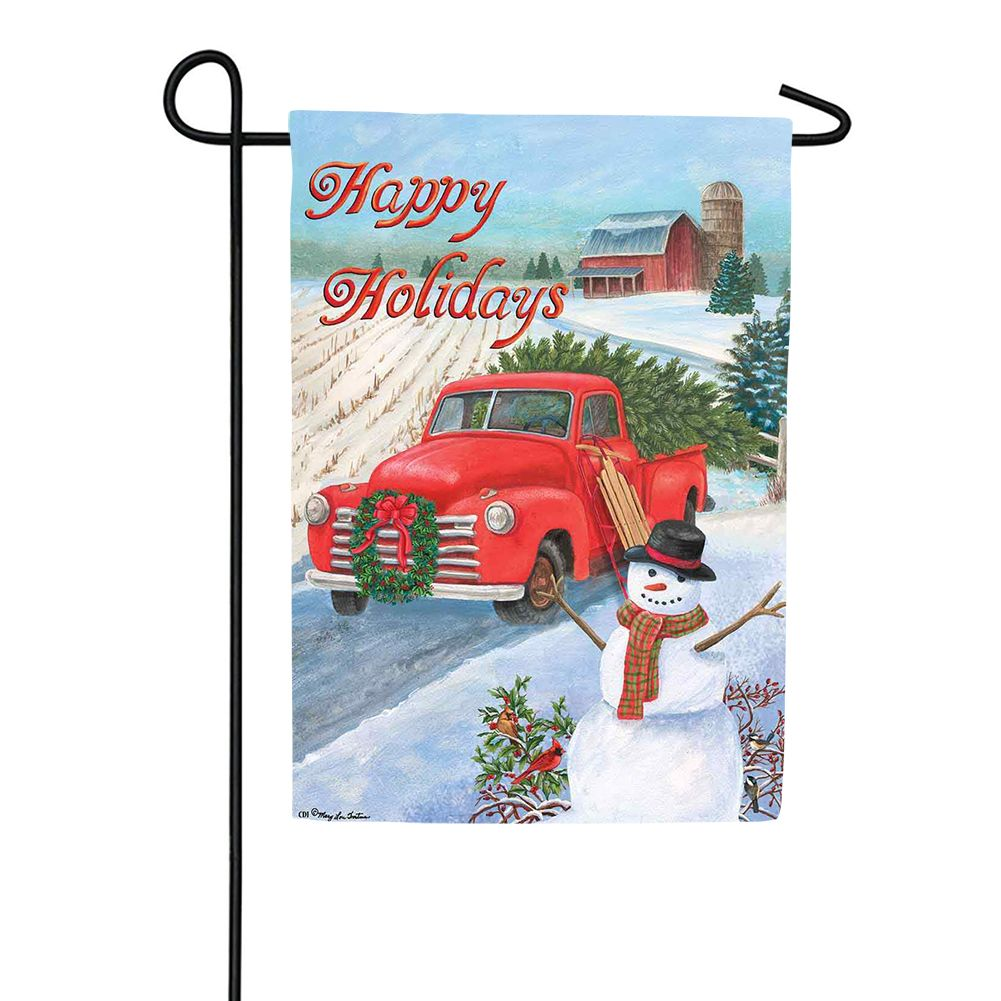 Christmas Truck Double Sided Garden Flag