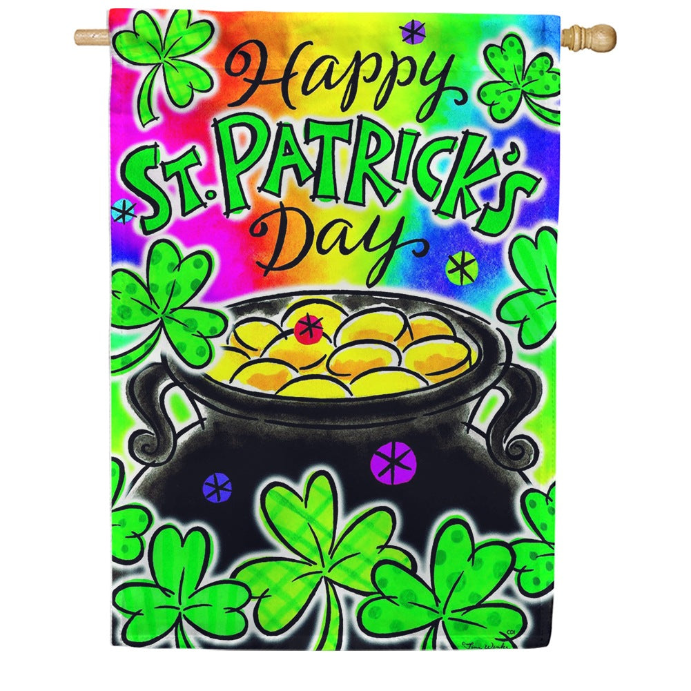 Pot Of Gold Happy St. Patrick's Double Sided House Flag