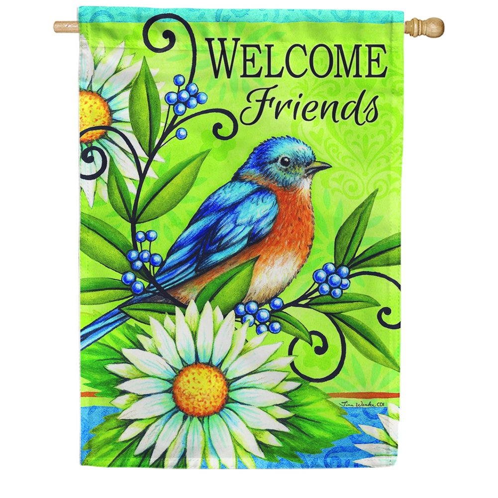 Welcome Bluebird Double Sided House Flag