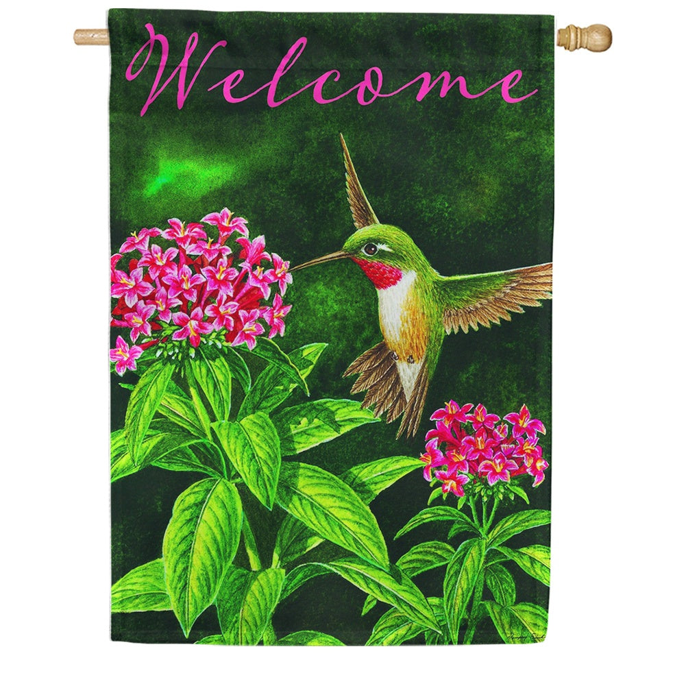 Welcome Hummingbird Floral Double Sided House Flag