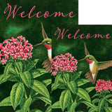 Welcome Hummingbird Floral Double Sided Flags Set (2 Pieces)